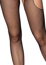 Load image into Gallery viewer, Black Jennifer Fishnet Suspender Bodystocking