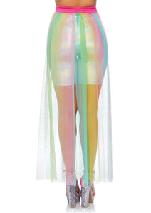 Multicolor Mary Multi Slit Sheer Skirt
