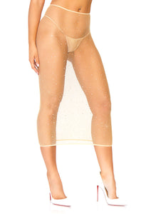 Nude Natalie Crystalized Fishnet Convertible Tube Tress