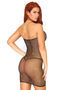 Black Natalie Crystalized Fishnet Convertible Tube Tress