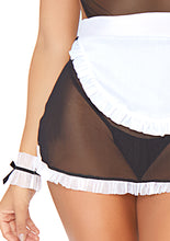 Load image into Gallery viewer, Black Rebecca 4 Piece Seductive French Maid and Apron Dress and G-String