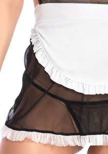 Black Rebecca 4 Piece Seductive French Maid and Apron Dress and G-String