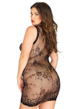 Load image into Gallery viewer, Black Micah Floral Lace Mini Dress with Scalloped Edge Plus Size