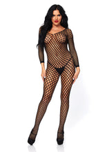 Load image into Gallery viewer, Black Nicole Lycra Ringo Hole Long Slvs Bodystocking