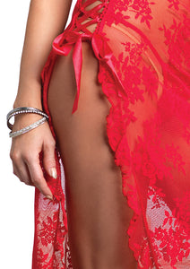 Red Ellie 2 Piece Halter Lace Long Gown with G-String