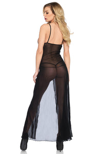 Black Lucy 2 Piece Mesh And Lace High Slit Long Gown