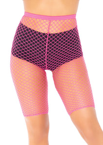 Neon Pink Allie Industrial Net Biker Shorts