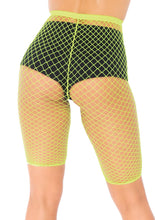 Load image into Gallery viewer, Neon Yellow Allie Industrial Net Biker Shorts
