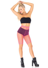 Load image into Gallery viewer, Neon Pink Allie Industrial Net Biker Shorts