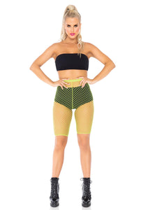Neon Yellow Allie Industrial Net Biker Shorts