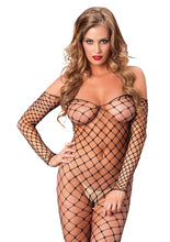 Load image into Gallery viewer, Black Rachel Fence Net Off The Shoulder Bodystocking