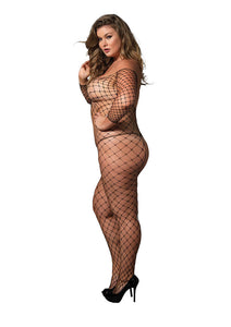 Black Delilah Fence Net Off The Shoulder Bodystocking and Long Sleeved Plus Size