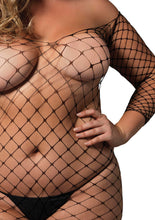 Load image into Gallery viewer, Black Delilah Fence Net Off The Shoulder Bodystocking and Long Sleeved Plus Size