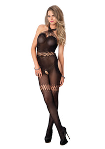 Black Sara Sheer Bodystocking With Teardrop Net Detail