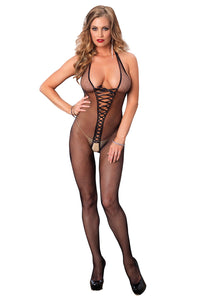 Black Leah Bare Bottom Backless Fishnet Halter Bodystocking