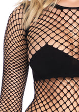 Load image into Gallery viewer, Black Sophie Naughty Kitty Industrial Net and Opaque Long Sleeved Bodysuit