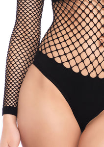 Black Sophie Naughty Kitty Industrial Net and Opaque Long Sleeved Bodysuit