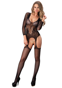 Black Mary Long Sleeved Ring Net And Floral Lace Suspender Bodystocking