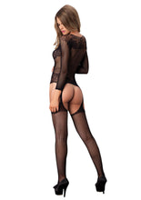 Load image into Gallery viewer, Black Mary Long Sleeved Ring Net And Floral Lace Suspender Bodystocking