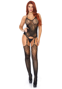 Black Maria Seamless Lace Jacquard Net Suspender Bodystocking