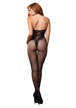 Load image into Gallery viewer, Black Chloe Fishnet Seamless Halter Bodystocking
