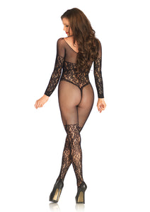 Black Abigail Vine Lace And Net Long Sleeved Bodystocking