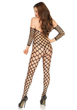 Load image into Gallery viewer, Black Amber Cargo Net Off The Shoulder Bodystocking