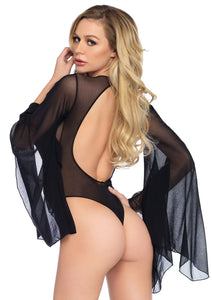 Black Nicole Mesh Bell Sleeve Thong Back Bodysuit with Snap Crotch