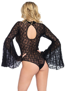 Black Judith High Neck Stretch Lace Bell Sleeve Bodysuit and Snap Crotch Thong Panty