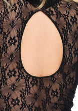 Load image into Gallery viewer, Black Judith High Neck Stretch Lace Bell Sleeve Bodysuit and Snap Crotch Thong Panty