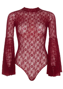 Burgundy Judith High Neck Stretch Lace Bell Sleeve Bodysuit Back and Snap Crotch Thong Panty
