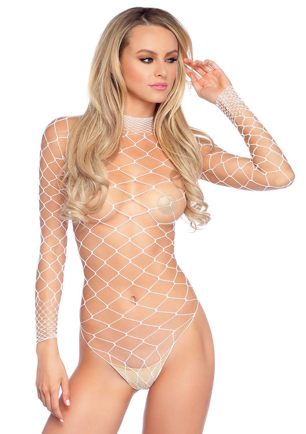 White Naomi High Neck Fence Net Long Sleeved Bodysuit with Snap Crotch Thong Panty