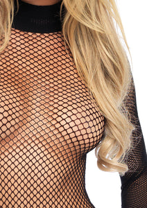 Black Olive Fishnet High Neck Long Sleeved Bodysuit with Snap Crotch