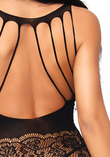 Load image into Gallery viewer, Black Anna Strappy Rose Lace Suspender Bodystocking