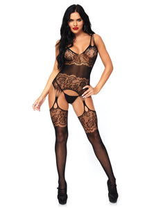Black Anna Strappy Rose Lace Suspender Bodystocking