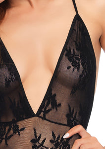 Black Hope Deep-V Floral Lace Teddy