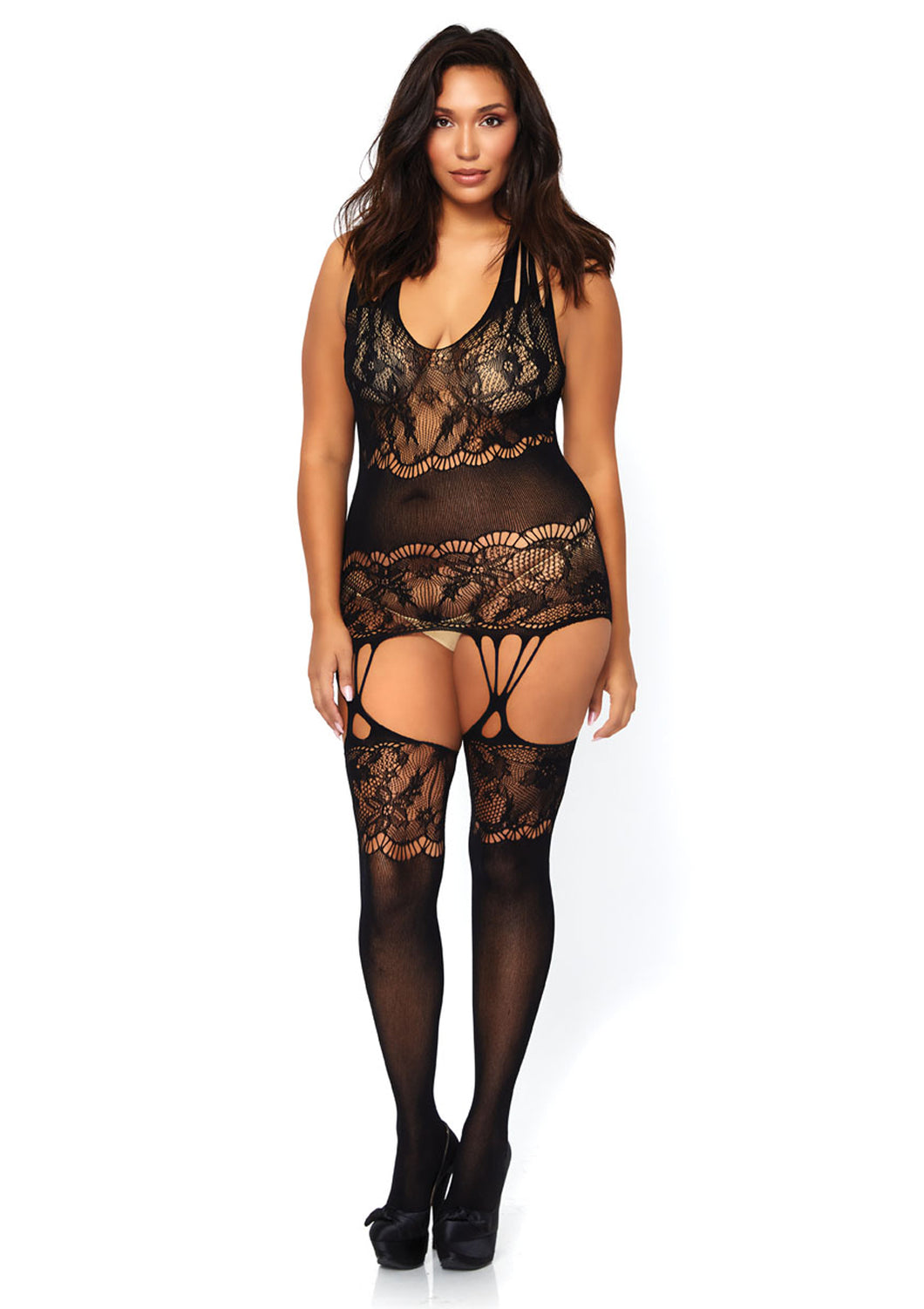 Black Levi Seamless Floral Lace Opaque Suspender Bodystocking