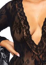 Load image into Gallery viewer, Black Crystal Stretch Lace Deep-V Bell Sleeve Bodysuit