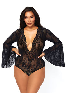 Black Crystal Stretch Lace Deep-V Bell Sleeve Bodysuit