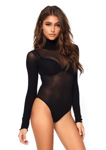 Black Holly Opaque High Neck Long Sleeved Bodysuit with Snap Crotch