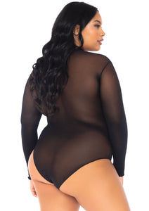 Black Tiphanie Opaque High Neck Long Sleeved Bodysuit with Snap Crotch