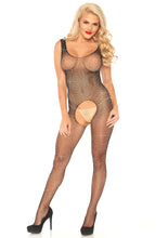 Load image into Gallery viewer, Black Olivia Crystalized Fishnet Tank Bodystocking