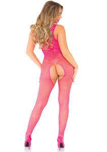 Neon Pink Olivia Crystalized Fishnet Tank Bodystocking