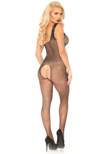 Black Olivia Crystalized Fishnet Tank Bodystocking