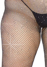 Load image into Gallery viewer, Black Magdalena  Crystalized Seamless Fishnet Long Sleeved Bodystocking