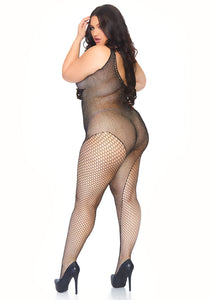 Black Eva Crystalized Fishnet Asymmetrical Bodystocking with Industrial Net Side Accent