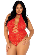 Load image into Gallery viewer, Red Bethel High Neck Floral Lace Backless Teddy and Crotchless Thong Panty