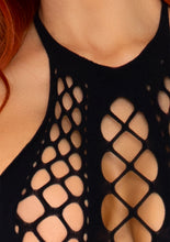Load image into Gallery viewer, Black Elizabeth Net Panel Backless Halter Bodystocking
