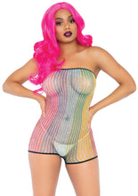 Load image into Gallery viewer, Multicolor Kayla Lurex Rainbow Net Strapless Romper