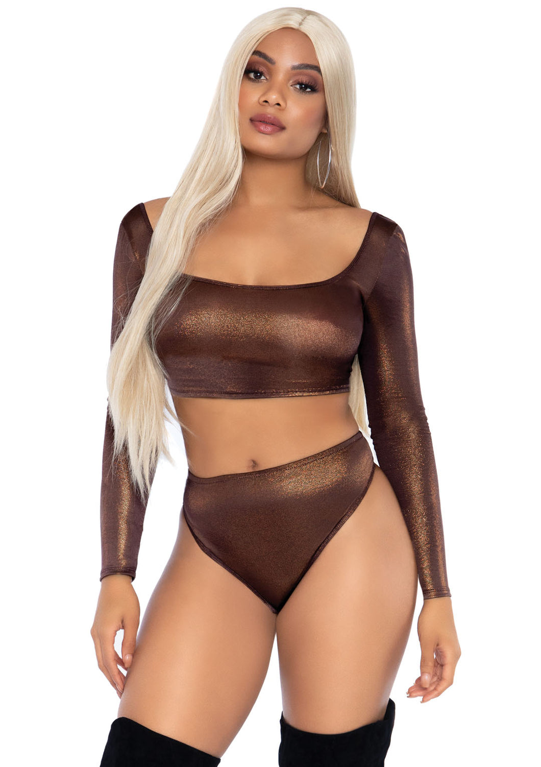 Bronze Kaila 2 Piece Shimmer Spandex Long Sleeve Crop Top and High Waist Thong Brief